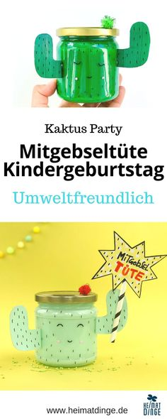 Eco-friendly giveaway bag for the children's birthday party: make sweet cactus out of old glass - DIY Upcycling I Recycling für Klein und Groß - Party Flamingo Party, Cactus, Childrens Party, Party Bags, Diy Gifts, Eco Friendly, Sweet, Diy Upcycling, Sweets