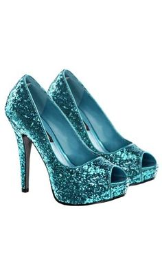 Adult Glitter Twinkle Turquoise Shoes