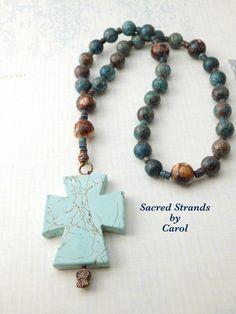 Anglican Prayer Beads  Howlite stone cross by SacredStrandsbyCarol, $35.00