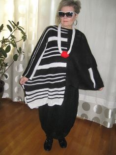 RESERVED. Lagenlook Handknitted Asymmetrical striped  black and white tunic with long sleeves