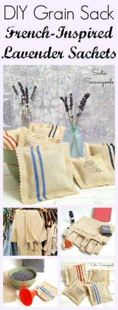 Love the look of a vintage French grain sack but can't bear the idea of repurposing one? I felt the same way! So I recreated the look on a plain curtain from the thrift store, and then made DIY lavender sachets! So cute, and it looks JUST like an antique grain sack! Fun upcycle craft project that also doubles as a lovely DIY gift! #SadieSeasongoods / www.sadieseasongoods.com