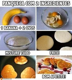 Two Ingredient Pancakes Flour less pancakes. Healthy breakfast for weight loss. 2 eggs and one banana. Mash them together and fry them! Flour less pancakes. Healthy breakfast for weight loss. 2 eggs and one banana. Mash them together and fry them! Two Ingredient Pancakes, 2 Ingredient Recipes, Healthy Snacks, Healthy Eating, Clean Eating, Easy Snacks, Healthy Habits, Healthy Life, Healthy Breakfast For Weight Loss
