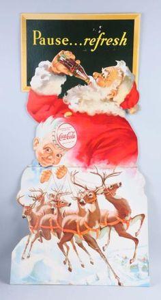 Lot # : 374 - 1949 Coca - Cola Santa & Reindeer Stand Up Sign.