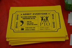 PTO back to school movie ticket/ recruitment tool and meeting calendar