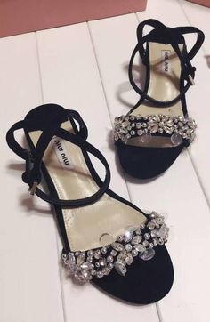 be6b234601c580 Miu Miu Flat Sandal Black -  175.00   queenpumps.com Jeweled Sandals