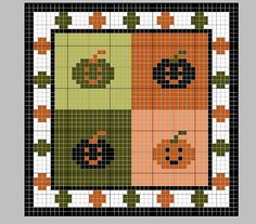 free Cross-stitch Halloween Biscornu... no color chart available, just use pattern chart as your color guide.. or choose your own colors...
