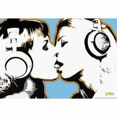 Steez Girls Kissing Art Poster Print - 24x36 custom fit with RichAndFramous Black 36 inch Poster Hangers null,http://www.amazon.com/dp/B00FM7JVRE/ref=cm_sw_r_pi_dp_bhy8sb09MH2C3EVX