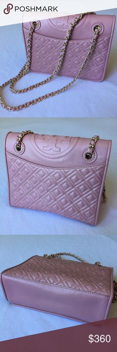Tory Burch Fleming Patent Medium Bag PLZ READ THE COMPLETE DESCRIPTION BEFORE COMMENTING & OFFERING! Thank u!  Color: Rose sachet Only carried twice to dinner parties. Mint Condition.  No stains, no rips.  With a TB dust bag.  Love the color! But the
