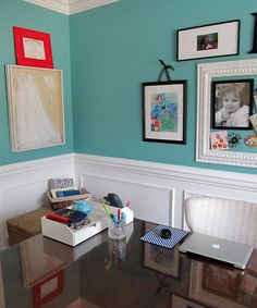 Benjamin Moore Florida Keys Blue - this might be The Turquoise for L. Not too wimpy, not too overwhelming.