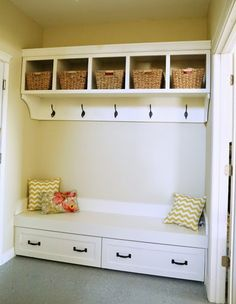 Owner Building a Home: The Momplex | Trundle Drawers for Mudroom Bench
