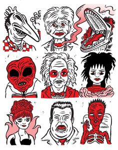 Beetlejuice| Adam, Juno, Barbara, Alien dude, Betlegeuse, Lydia, Miss Aregentina, Otho, Cancer Guy.