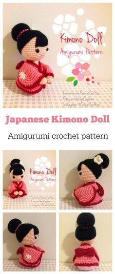 Super-cute Kimono Doll amigurumi crochet pattern.