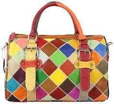 Hereby KuerTM Womens Soft Leather Multicolor Tote Tophandle Crossbody  Handbag Shoulder Bag Satchel Purse Colorful2   e268cce3ee4de
