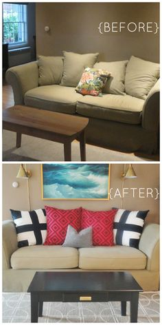 Change the look of your tired old sofa overnight! Check out these ideas from this Before and After sofa transformation. #MustFollowInteriorDesigners #sofa #beforeandafter