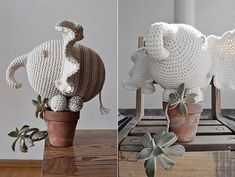 Grow your own crochet elephant? Cute! Miga De Pan, again...