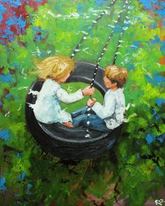 This artist has some nice paintings of children and toys.  Great art for kid's room    Print Swing 65 16x20 inch Print from oil painting by Roz by RozArt, $45.00