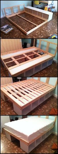 Using bookcases as a bed frame is one easy way to build a bed with storage. It's also space-saving, cheaper than a typical bed with storage and easier to disassemble and transport! Learn more about this DIY project on our site at http://diyprojects.ideas2live4.com/2016/02/04/build-an-inexpensive-bed-from-bookcases/