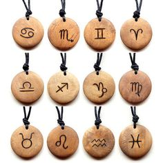 Unique men's or ladies wooden necklace. The design is burned on to the wood using pyrography. This pendant features a Zodiac sign of your choice The necklace is handmade to a high quality, making an excellent yet affordable gift idea. Wood Burning Crafts, Wood Burning Patterns, Wood Burning Art, Astrology Numerology, Aquarius Astrology, Astrology Signs, Wooden Necklace, Wooden Jewelry, Wood Burn Designs