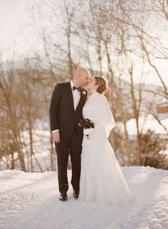 Winter wedding dress snow