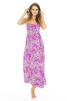 Back From Bali Maxi summer dress in stunning fuchsia paisley.  Elastic back for perfect size comfort and the perfect warm weather dress either casual or dressed up