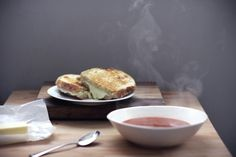 grilled swiss and provolone cheese sandwich with tomato soup