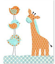 Aqua and Orange Nursery, Bird Nursery Decor, Giraffe Art Print, Boy Nursery Art, Cute Nursery Art, Playroom Decor, Giraffe Nursery Art