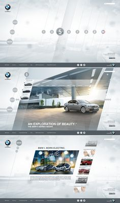 20 Automotive Website Designs For Your Inspiration - Some Sleek Examples. Layout Design, Web Layout, Page Design, Bmw Design, Interface Design, Gui Interface, Flat Web Design, Website Layout, Website Design Inspiration