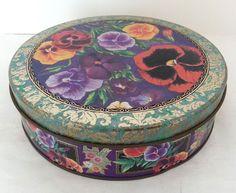 Round tin, ornate pansy litho trinket box