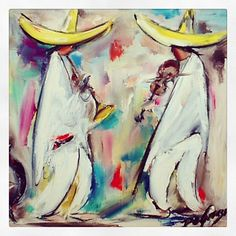 """Photo by degraziagallery DeGrazia's """"Tres Mariachis"""" oil on canvas. In honor of those celebrating Cinco de Mayo in Puebla Mexico."""
