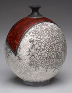 Raku fired cracle-orb by Michaele Lee Howland