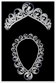 Princess Charlene of Monaco's Oceans Tiara, 2011 by Van Cleef & Arpels. (convertible to necklace, pictured)  Commissioned to honor her history as an Olympic swimmer. Sapphires and diamonds.
