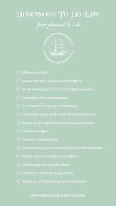 Plan and Organize a Honeymoon - To Do Checklist