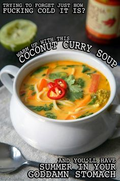 COCONUT CURRY SOUP Serves 4 as a main, 6 as a side  2 teaspoons olive or coconut oil ½ a large white onion, cut into 1-inch strips 2 red bell peppers, cut into 1-inch strips 1 large carrot, cut into 1-inch strips 1 cup chopped broccoli* 4 cloves of garlic, minced 2 tablespoons of loosely-packed minced fresh ginger 2 tablespoons yellow curry powder** 2 teaspoons soy sauce or tamari 1 ½ cups of canned coconut milk 4 cups of…