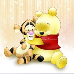 Pooh and Tigger Walt Disney, Disney Art, Pooh Bear, Tigger, Eeyore, Disney Princess Babies, Disney Babies, Baby Cartoon, Cute Cartoon