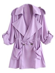Shop Light Purple Lapel Waisted  Double Breasted Trench Coat from choies.com .Free shipping Worldwide.$35.99