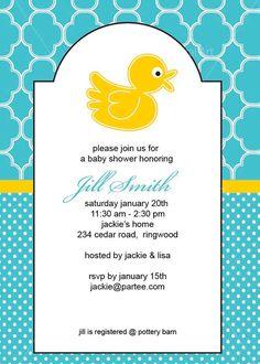 Yellow Duck Printable Baby Shower Birthday Invitation DIY