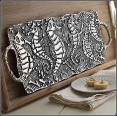 Metal Seahorse Platter