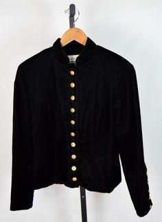 Lucia Lukken Broomskirts Women's M Black Velvet Concho Button Jacket #LuciaLukkenBroomskirts #BasicJacket #Casual