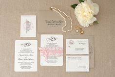 Vintage Peony Wedding Invitation | pink, black, and champagne | La Rue Louise