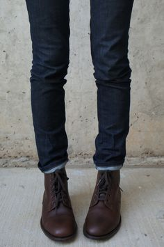 Love skinny jeans with lace up boots