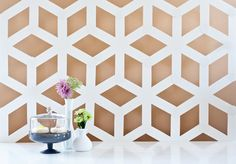 DIY: Modern Geometric Backdrop Tutorial for party or dessert table - from Ambrosia Creative via Project Wedding Wall Art Crafts, Diy Wall Art, Diy Art, Wall Decor, Diy Backdrop, Backdrops, Diy Design, Wall Design, White Poster Board