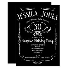 Whiskey Label Over The Hill Invitation Surprise Birthday Invitations, Retirement Party Invitations, Birthday Party Celebration, Christmas Party Invitations, Graduation Party Invitations, Engagement Party Invitations, Zazzle Invitations, 30 Birthday, Invites
