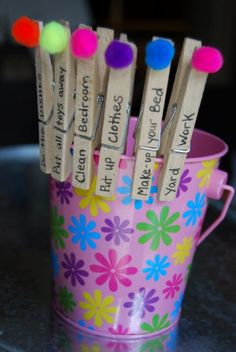 Kids Chore Bucket...Turn chore time into a fun game for your little ones. It's simple….choose a clothespin that has a chore written on it, complete the chore and then drop the clothes pin in the bucket. I think I would add a $ amt to special chores. Add them up at the end of the week.