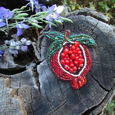 Red brooch Pomegranate brooch Garnet brooch Seed Beaded brooch Garnet Pin Fruit brooch pin Gift Ideas Fruit Stuff Embroidery Brooch Pomegranate Garnet jewelry ________________________ Beautiful Pomegranate Brooch is lovely handmade by me. This beautiful hand embroidered