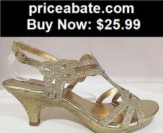 Wedding-Shoes-And-Bridal-Shoes: Wedding Prom Open Toe Slingback Kitten Low Heel Glitter Rhinestone Shoe Gold - BUY IT NOW ONLY $25.99