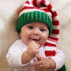 Christmas Baby Elf Crochet Baby Hat