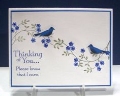 """By Mary (jandjccc at Splitcoaststampers). Uses stamps from """"Thoughts and Prayers"""" set by Stampin' Up. I like the way she positioned the branches, and I like the addition of the birds. She punched them out & popped them up on the card. What company makes a bird punch with birds this small? I've been looking for a punch like that!"""