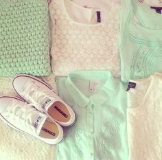 Love it! Especially the white shirt in the middle and the blue sweater on the left:) and the chucks!<3