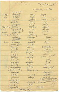 """""""Gobblefunk"""" - As he was writing The BFG in the early-1980s, author Roald Dahl set about creating a new vocabulary for the story's enormous protagonist —a 238-word language that he ultimately named, """"Gobblefunk."""" This list was written by Dahl as he brainstormed, and offers a snapshot of """"Gobblefunk"""" in its infancy. http://www.listsofnote.com/2012/02/gobblefunk.html"""