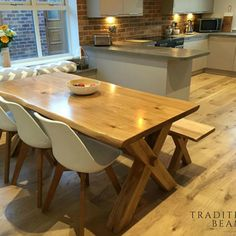Solid Oak Cross Leg Dining Table with Matching Bench #ad #Etsy